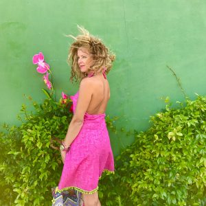boho pink dress